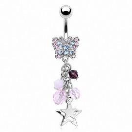 Piercing nombril papillon perles étoiles