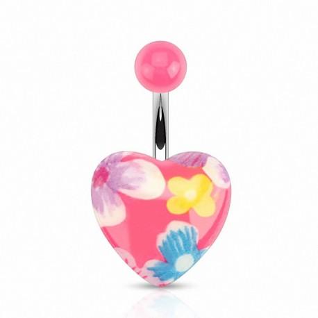 Piercing nombril coeur fleurs