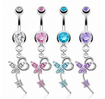 Piercing nombril papillon coeur