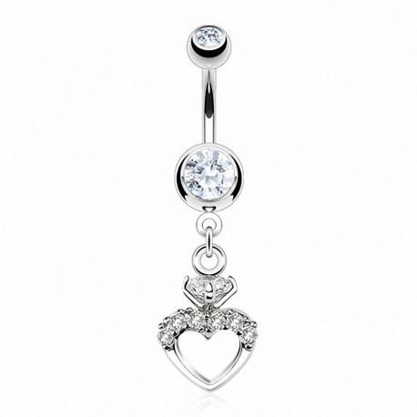 Piercing nombril coeur gemmes