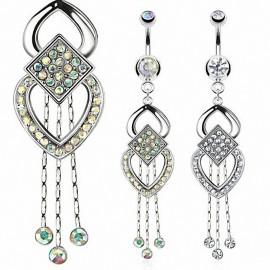 Piercing nombril pendentif chaines multi gemmes