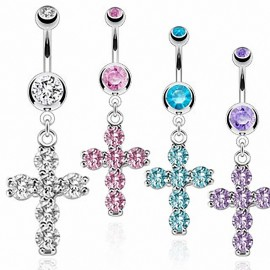 Piercing nombril croix pierres zircon
