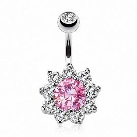 Piercing nombril fleur rose