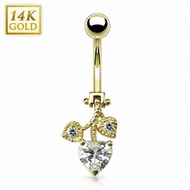 Piercing nombril Or 14 carats coeurs mobiles