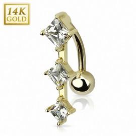 Piercing nombril inversé Or 14 carats gemmes carrés