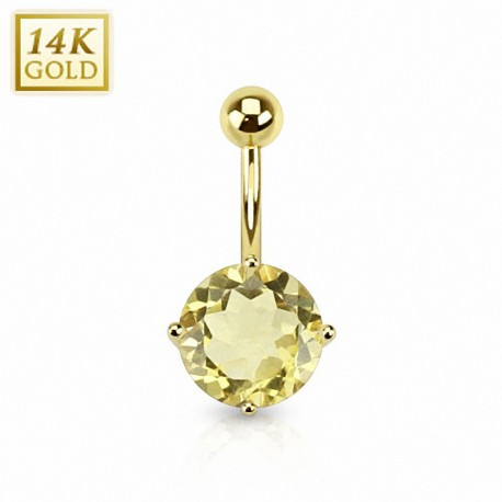 Piercing nombril Or 14 carats Quartz Citron