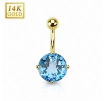 Piercing nombril Or 14 carats Topaze Bleu Suisse