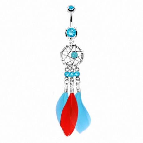 Piercing nombril attrape rêves plumes