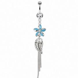 Piercing nombril fleur chaines