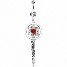 Piercing nombril rose chaines