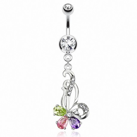 Piercing nombril fleur multicolore