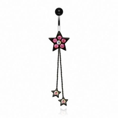 Piercing nombril étoile gemmes roses