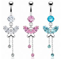 Piercing nombril papillon zircon
