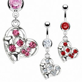 Piercing nombril coeur multi gemmes