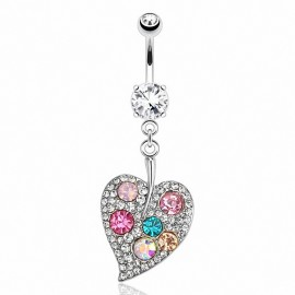 Piercing nombril feuille multi gemmes