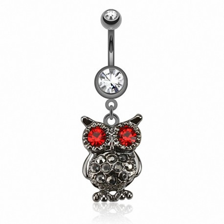Piercing nombril hibou hématite