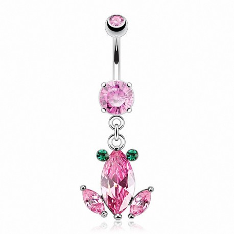 Piercing nombril grenouille crystal