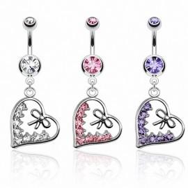 Piercing nombril coeur ruban