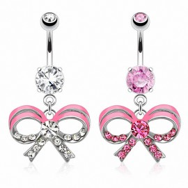Piercing nombril ruban rose