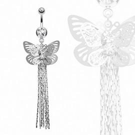 Piercing nombril papillon chaines