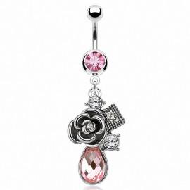 Piercing nombril rose vintage