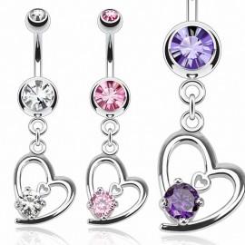 Piercing nombril coeur et gemme
