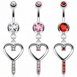 Piercing nombril clef coeur