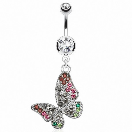 Piercing nombril papillon multi gemmes