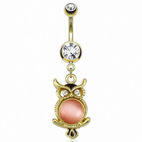 Piercing nombril plaqué or hibou