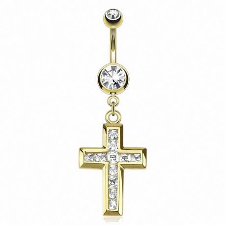 Piercing nombril plaqué or croix