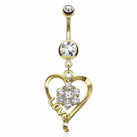 Piercing nombril plaqué or coeur Love