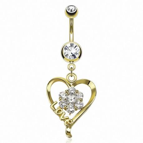 Piercing nombril plaqué or coeur Love