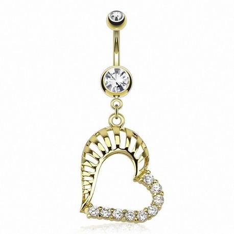 Piercing nombril plaqué or coeur gemmes