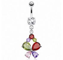 Piercing nombril papillon multi strass