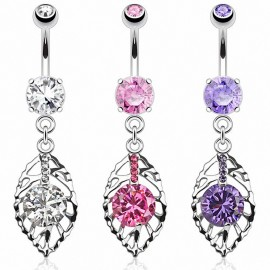 Piercing nombril feuille pierre zircon