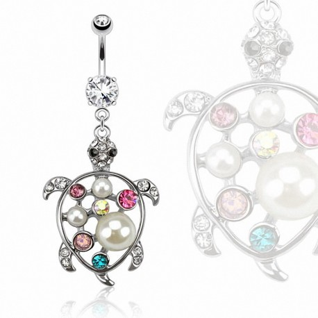 Piercing nombril tortue gemmes perles