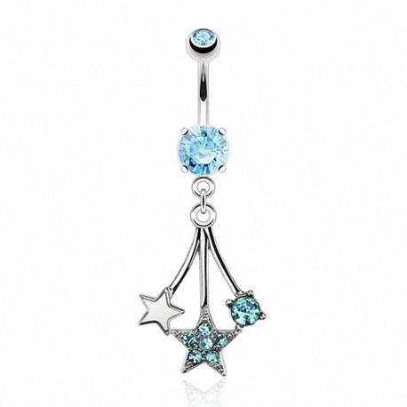 Piercing nombril pendentif étoiles