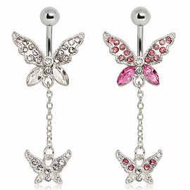 Piercing nombril 2 papillons