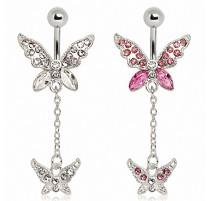 Piercing nombril 2 papillons