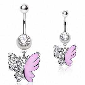 Piercing nombril papillon rose