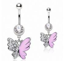 Piercing nombril papillon rose