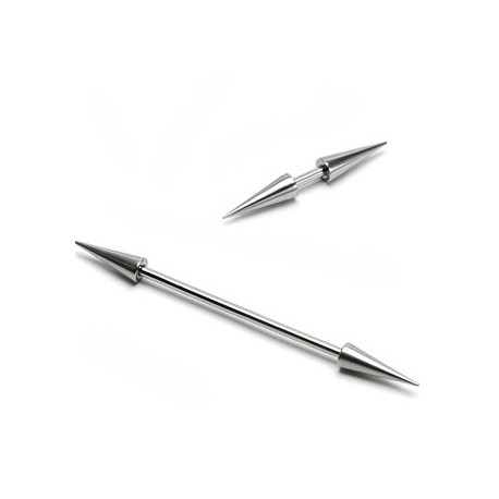Piercing Barbell double Spikes (Longs) - Bijou Piercing Cartilage et Tragus