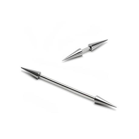 Piercing Barbell double Spikes (Longs) - Bijou Piercing Cartilage et Tragus