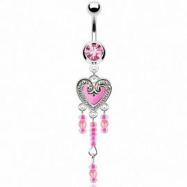Piercing nombril coeur rose vintage