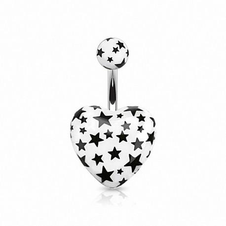 Piercing nombril coeur étoiles