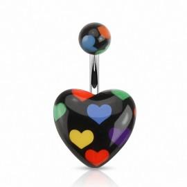 Piercing nombril coeur noir