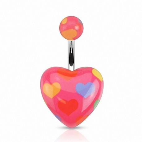 Piercing nombril coeur multicolores