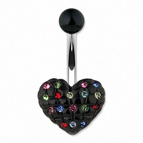 Piercing nombril coeur noir Multi Gemmes