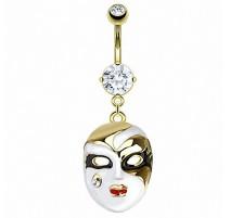 Piercing nombril plaqué or masque vénitien