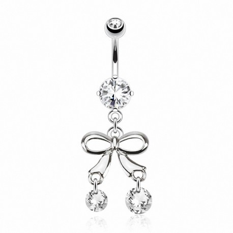 Piercing nombril noeud pierres zircon
